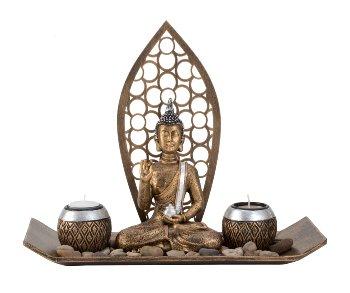 Buddha Set mit 2 Teelichthalter l=35cm