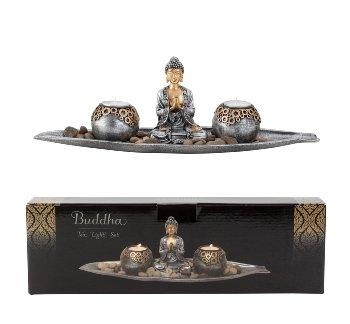 Buddha Set mit 2 Teelichthalter l=40cm