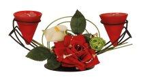 Metall-Teelichthalter m.Rose-Design