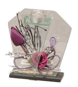 Glassdecoration with flowers purple for