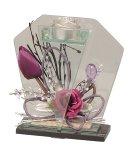 Glasdeko mit Blumen violett f.Teelicht