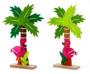 Felt Flamingo w. palm tree on wooden
