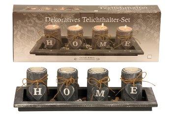 Teelichthalter-Set HOME mit Platte