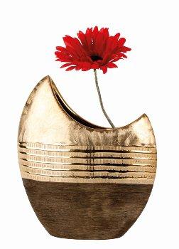 Vase mondförmig goldbraunes Muster