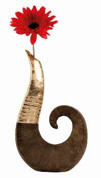 Skulpturvase goldbraunes Muster h=30cm