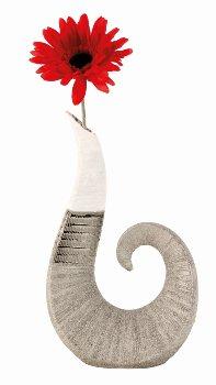 Skulpturvase silber/weißes Muster h=30cm