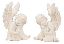 Engel weiß sitzend mit Glaskugel