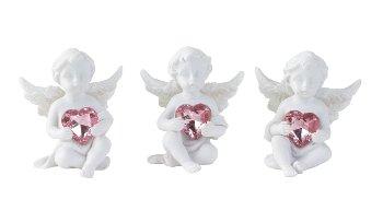 Engel sitzend mit rosa Herz h=4,5cm