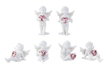 Engel sitzend, liegend, stehend mit rosa