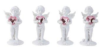 Engel stehend mit rosa Herz h=11cm sort.