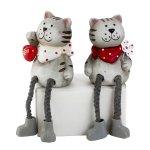 Katze mit Herz & Schlenkerbein h=17cm
