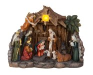 Nativity with 11 figures and lightning