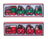 X-mas Train red and green wooden l=20cm