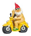 Zwerg nackt sitzend auf Motorrad h=28cm