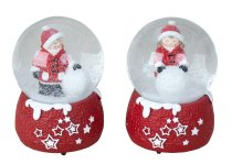 Xmas snowglobe with figures red/white