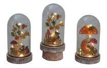 Herbstdeko in Glas mit LED-Licht