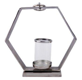 Metall-Skulptur Hexagon Teelichthalter