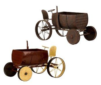 """Metall-Blumentopf antik """"Traktor"""" h=22cm"""