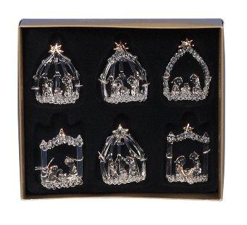 Weihnachtskrippen aus Glas h=5,5cm sort.