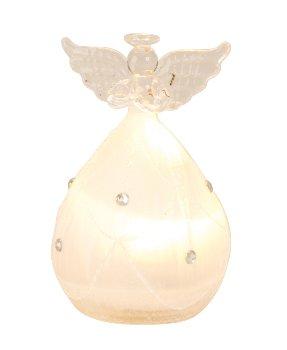 Glasengel mit LED-Beleuchtung h=10cm
