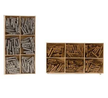 Holzwäscheklammern gold/silbern l=2,5cm,
