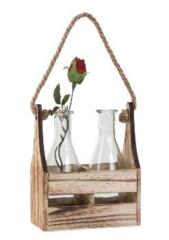 Glasvasen mit Holzgestell h=20,5cm