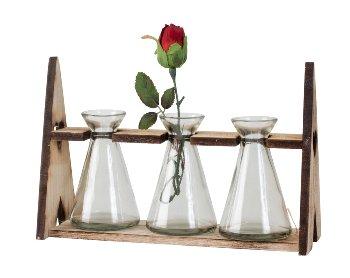 Glasvasen mit Holzgestell h=17,5cm