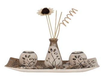 Teelichthalter-Set m. Dekoblume h=24,5