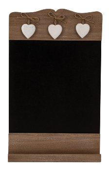 Wooden blackboard with 3 hearts 24x39cm