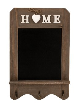 Holz-Tafel 'HOME' & Metallhaken 22x34cm