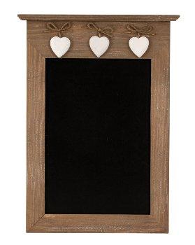 Wooden blackboard with 3 hearts 26x39cm