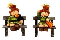 Harvest figures on wooden bench h=10cm