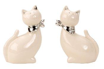 Katze weiß/silber h=13cm b=9cm sort.