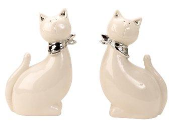 Katze weiß/silber h=22cm b=14cm sort.