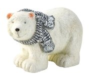 Polar bear glittering with silver scarf