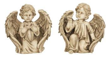 Angel kneeling with bird h=26+26,5cm