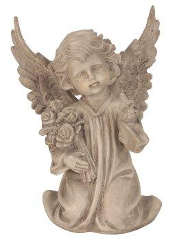 Engel kniend mit Vogel & Blume h=28,5cm