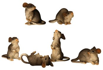 Mäuse grau stehend,liegend&sitzend