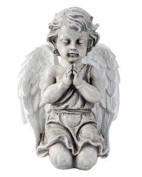 Grauer Engel betend mit weißen Flügeln