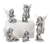 5er-Set graue Elfen mit weißen Flügeln
