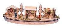 Weihnachtsmarkt mit LED h=14cm, 45x15cm