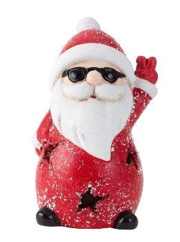 Nikolaus mit Brille mit LED h=11cm b=7cm