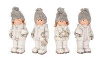 Winterkinder stehend mit Mütze h=13cm