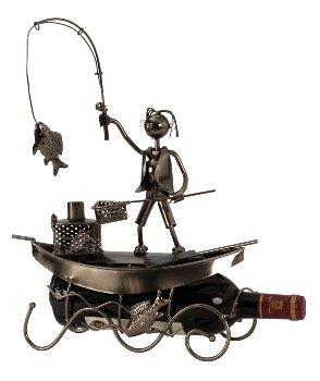 """Metal Wine-bottle holder """"fisherman in"""