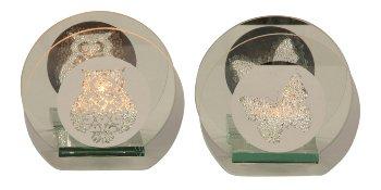 Glass tealight holder owl&butterfly
