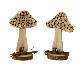 Holz-Pilz h=15,5cm sort.
