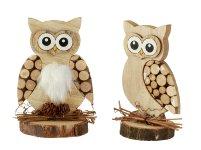 Wooden owl h=14-14,5cm asst.