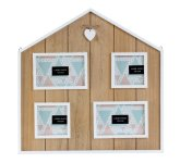 Holzhaus-Form mit 4 Bilderrahmen mit