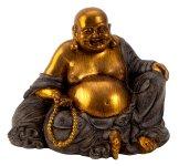 Buddha mit dickem Bauch gold/grau h=17cm