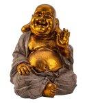 Buddha mit dickem Bauch gold/grau h=33cm